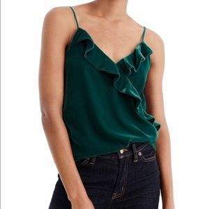 NWT J. Crew Green Going Out Velvet Tank Top size 2